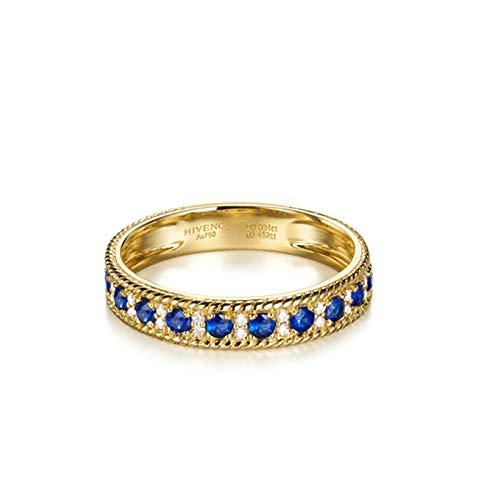 Beydodo Hochzeit Ringe Gold 18 K 750 0.564ct Saphir Bandring Verlobungsringe mit Diamant für Damen Große 49 (15.6)