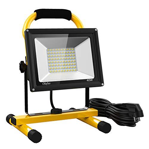Olafus 40W 4000LM Projecteur LED Chantier, 5000K Blanc Froid, Eclairage de Travail 220V, 2 Modes de Luminosité Réglables 40W/20W, 5M Câble d'Alimention, Etanche IP65, pour Travaux, Bricolage etc