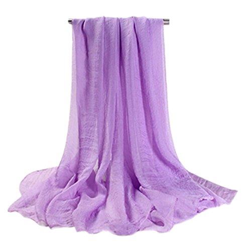 Doux longue en mousseline de soie Foulard Châle pour femme, Mesdames et filles (Violet)