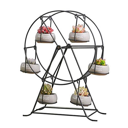 Pflanzenregale Blumentreppen Blumenregal Metall Viereckige Halterung Riesenraddekoration Eisenkunst Europäische Art Desktop Sukkulenten Tingting (Farbe : Weiß, größe : 32 * 44cm)