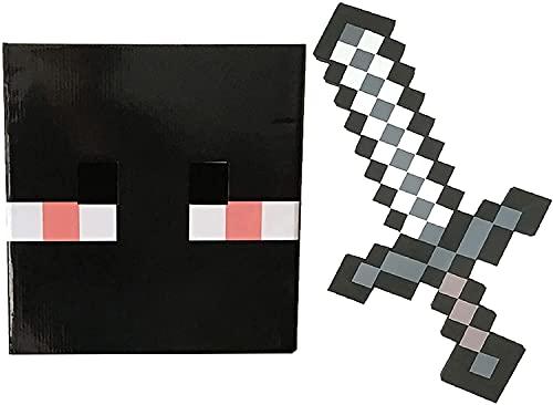 Espada de juguete moldeada, réplica de diamante de Minecraft, espada de espuma y tocado de cartón, modelo de juego, herramienta de aventura para fiesta de cumpleaños (3 combinaciones)