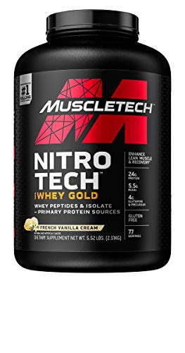 MuscleTech Nitro-Tech Whey Gold Protein Powder, Whey Isolate and Peptides, 24 Grams Protein, 5.5 Grams BCAAs, Gluten-Free, French Vanilla Cream, 5.5 Pounds (77 Servings)(Packaging May Vary)