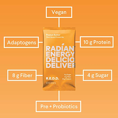 REDD Plant Based Protein Bar - 18 Bars - 6 Chocolate, 6 Oatmeal, 6 Peanut Butter - Gluten Free, Vegan, Low Sugar, High Fiber, Probiotics