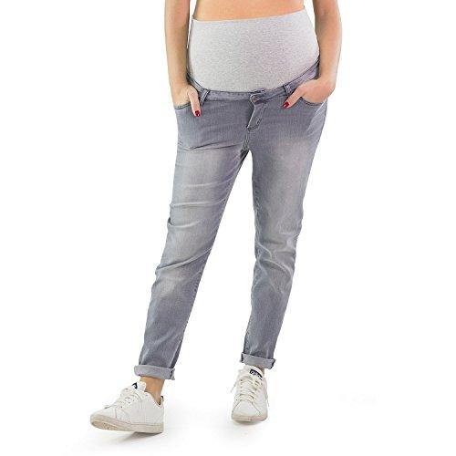 MAMAJEANS Jeans Premaman Cavallo Basso Boyfriend Style Grigio con Leggeri Difetti a Prezzo Scontato - Made in Italy (Grado A, 42)