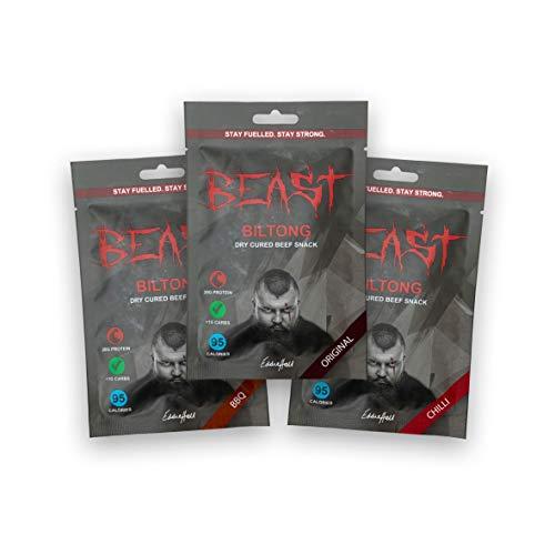 BEAST BILTONG - Taster Box (BBQ, Chilli & Original) (3x35g) (High Protein) (Low Fat) (Eddie Hall)