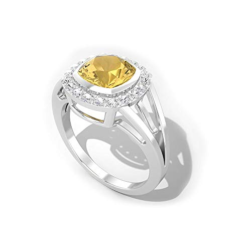 1.8Ct Citrine Diamond SGL Certified Ring, Cushion Cut Gemstone Bridal Wedding Ring, HI-SI Color Clarity Diamond Halo Ring, November Birthstone Ring, 18K Yellow Gold, Size:UK V1/2