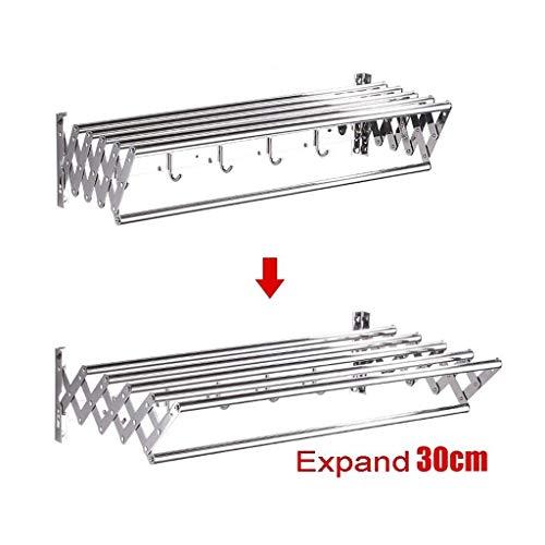 JiaJu Tendedero De Ropa Plegable para El Baño con 16 carriles Colgantes Acero/Tendedero Plegable para Bañera, 10 .6Metros