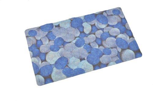 ABELE (R) Design Non Slip Baby Kids Safety Shower Tub Bath Mat, Mildew Mold Resistant Bathmat, Rubber w/ Cloth Coating (Blue Pebble) 15.7