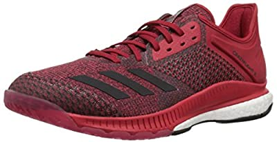 adidas Women's Crazyflight X 2 Volleyball Shoe, White/Black/Power red, 5 M US