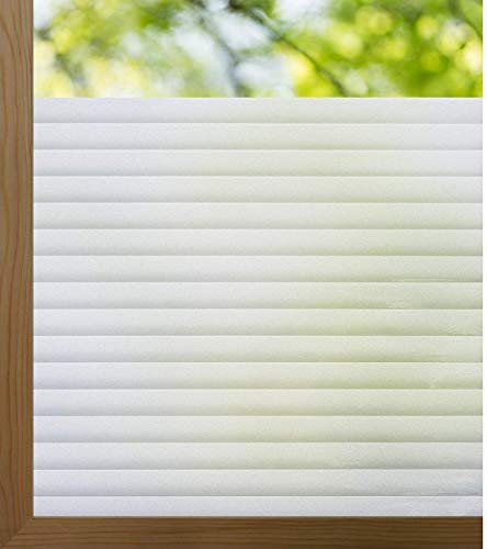 """rabbitgoo Window Film Opaque Blinds Stripe Pattern Frosted Privacy Non-Adhesive Window Film, Static Cling Blind Window Sticker 17.5"""" x 78.7"""" for Home Decor, Bedroom, Kitchen, Office"""