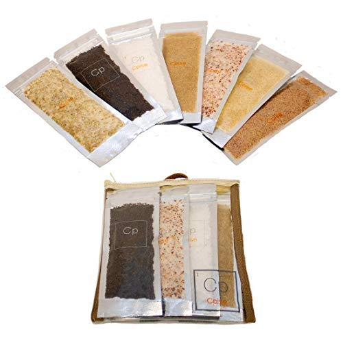 Cpise Gourmet Flavored Salt Sampler Gift Set - 7 Salt Variety: Asian Ginger Salt, Chili Lime Salt, Lemon Rosemary Salt, Maldon Sea Salt, Maple Bacon Smoked Salt, Porcini Salt, Sriracha Salt