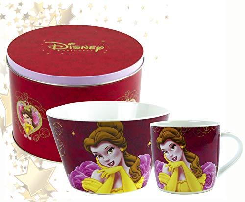 ML Set de vajillas para niñas. Plato Taza Infantil Princesa Disney Bella, Color Rosa