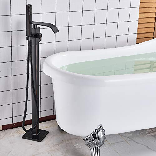 Senlesen Barthroom Tub Filler Faucet Floor Mounted Bathtub Shower Faucet Waterfall Spout Free Standing Tub Mixer Tap with Handheld Sprayer