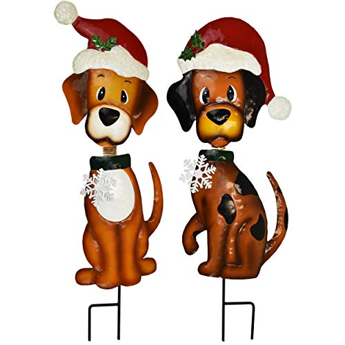 Gift Boutique Christmas Yard Stakes - Outdoor Garden Decorations - Set of 2 30' Metal Bobble-Head Dog Holiday Decoration