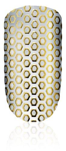 essie Nailsticker OH MY GOLD Nr. 12 funkelndes Gold / luxuriöse selbstklebende Nagelsticker mit modischem OP-Art-Muster, 1 Set Aufkleber aus echtem Nagellack