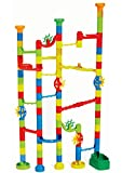 100 Piece Marble Run Toy Set - 80 Colorful Pieces + 20 Marbles To Build Your Own Maze Race Track - Create Endless Building Block Combinations And Watch A Race To The Bottom! - Educational STEM Kit