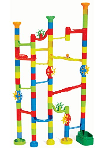 Marbulous Marble Run - Build Your Own Marble Track And Watch Your Marbles Twist Turn And Roll Down Your Creation - 100 Piece Set For Endless Colorful Combinations