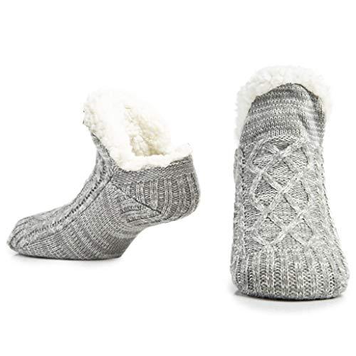 CityComfort Slipper Fluffy Socken für Frauen Männer Wärme Halten Socke Gestrickte Socken Wolle Sherpa Fuzzy Bett Hausschuhe Größe 5-8 Rutschfeste (Hellgrauer Mergel)