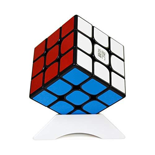 FunnyGoo YongJun YJ YuLong 2M 3x3x3 V2M Magic Cube Smooth Puzzles Cube Color Negro + Un Soporte de Cubo
