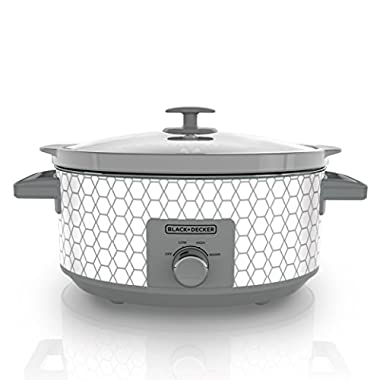 BLACK+DECKER SC1007D 7 Quart Dial Control Slow Cooker with Built in Lid Holder, Geometric Cream