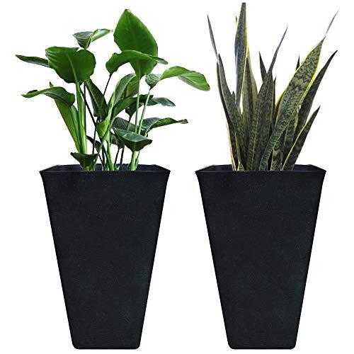 La Jolie Muse Tall Planters 26 Inch, Flower Pot Pack 2, Patio Deck Indoor Outdoor Garden Tree Planters, Black