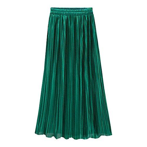 JERFER Falda Plisada Diaria de Moda de Cintura Alta Larga Casual de Las Mujeres de la Vendimia