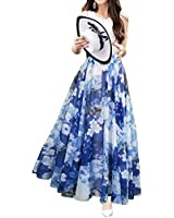 Afibi Womens Blending Chiffon Retro Long Maxi Skirt Vintage Dress (Small, Pattern 7)