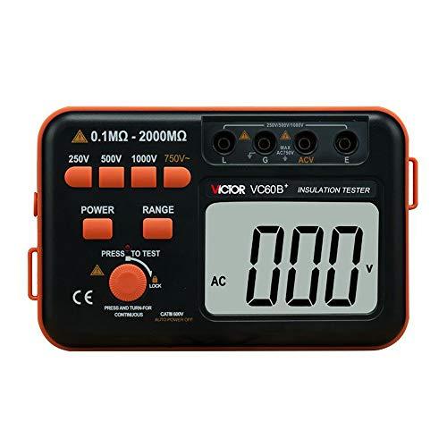 Victor VC60B+‒Medidor de aislamiento digital, 250 500 1000VCC, 750VCA, color naranja y negro