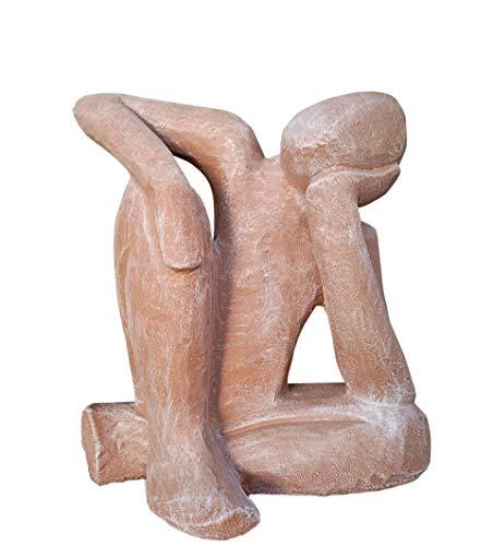 Tiefes Kunsthandwerk Steinfigur Träumer in Terrakotta, abstrakte Deko-Figur für Haus und Garten, Moderne Statue als Garten-Figur