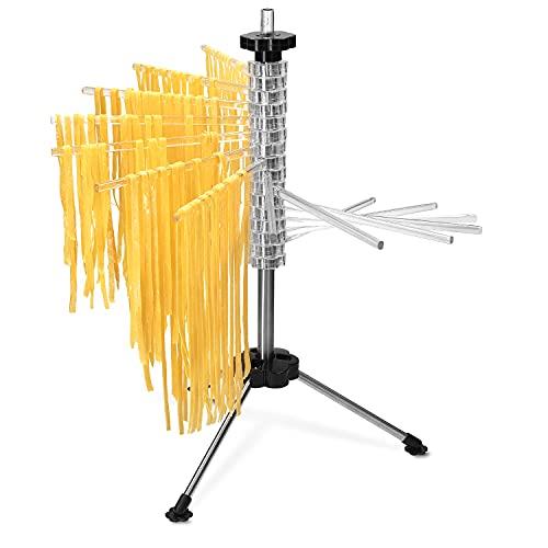 Navaris Stendi-pasta pieghevole per pasta fresca - Stendino per 2 kg pasta lunga - Essiccatore asciuga-pasta acciaio e ABS 16 assi 20cm altezza 50cm