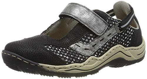 Rieker L0578-00, Sneakers Basses Femme, Noir (Schwarz/Schwarz-Silber/Altsilber 00), 36 EU