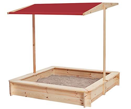 Miganeo Sandkasten mit Dach Holz Sandkiste Sandbox Buddelbox 75202