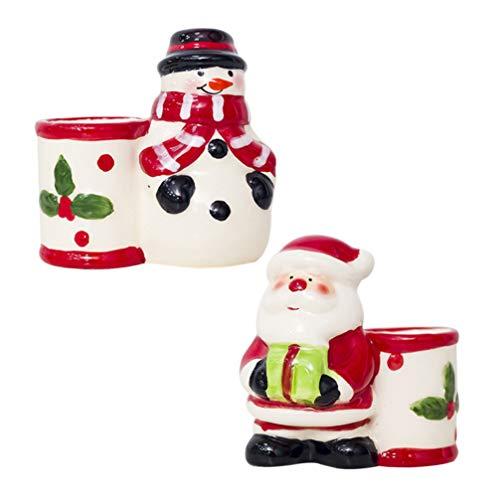 Wakauto - Porta stuzzicadenti in ceramica con Babbo Natale, pupazzo di neve, oggetto decorativo, per cucina, bar, matrimonio, Natale, compleanno, festa, decorazione da tavolo, 2 pezzi