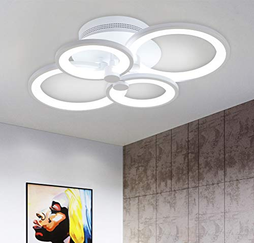 Ganeed Plafoniera Moderna, Plafoniere a Soffitto a LED in Metallo Acrilico, Lampadario a LED da 36W per Soggiorno, Cucina, Camera da Letto, Sala da Pranzo, Bianco Freddo 6500K