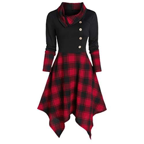 Cramberdy Kleid Damen Lässiger O-Neck Kurz Schnüren Sie Sich Tartan Rock Sommer Plaid Print Asymmetrical Mini Kleider Mode 2020