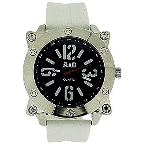 Angel Or Demon AOD02 Herren-Armbanduhr, Silikonarmband, Weiß