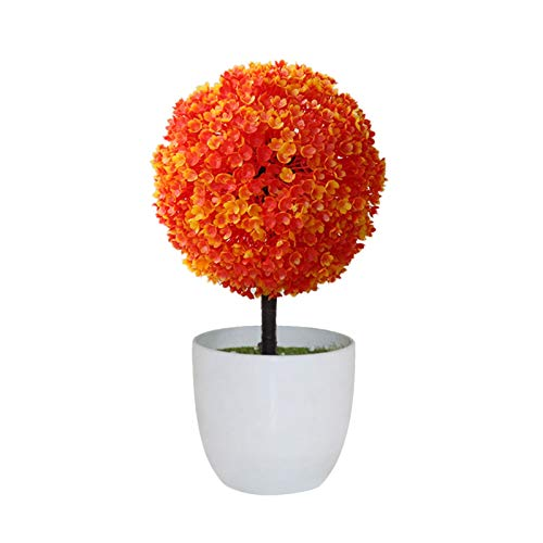 ADosdnn New Fake Flowers Topf Ornaments for Hauptdekoration Hotel Garden Decor Bonsai Künstliche Pflanzen Bonsai Kleiner Baum Töpfe (Color : Orange)