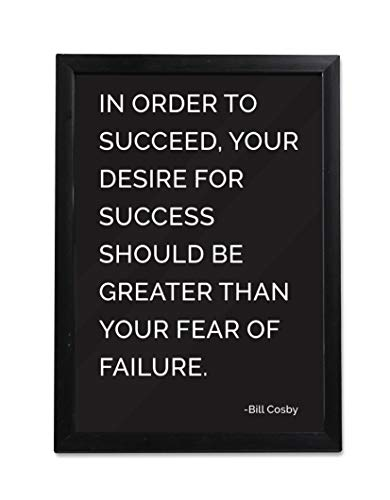Inspirational Photo Frame of Bill Cosby | Motivational Quotes | Wooden Framed Poster for Wall, Home, Living Room, Office | Black and White | 13 x 9.5 Inch