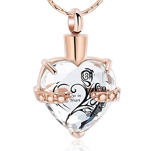 constantlife Crystal Heart Shape Cremation Jewelry Memorial Urn Necklace for Ashes, Stainless Steel Ash Holder Pendant Keepsake with Gift Box Charms Accessories for Women (Rose Gold+Clear)