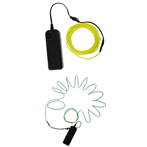 MagiDeal 2x Flexibele LED Neon Light Lights EL Wire Rope Fietskleding Schoenen Art Green