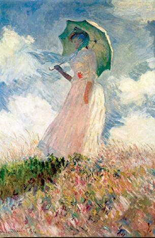 Monet Frau mit Sonnenschirm Malerei an der Wand Impressionist Mädchen Wandkunst Leinwanddruck Bild von Wohnzimmer rahmenlose dekorative Leinwand Malerei A75 60x80cm