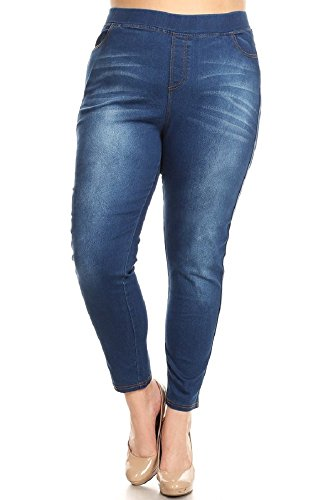 Women's Stretch Pull-On Skinny Ripped Distressed Denim Jeggings Plus Size 3XL Blue-69