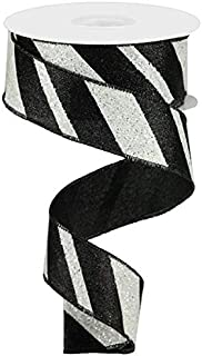 Wired Ribbon Glittered Black and White Giant Diagonal Lines 1.5