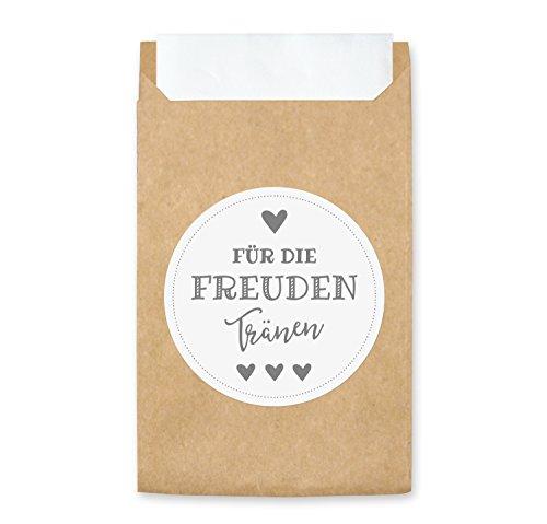 50 Freudentränen Tüten & Sticker (weiß/grau) - Aufkleber und Mini Papiertüten - Verpackung für Hochzeit Taschentuch (50 Stück, weiß/grau)
