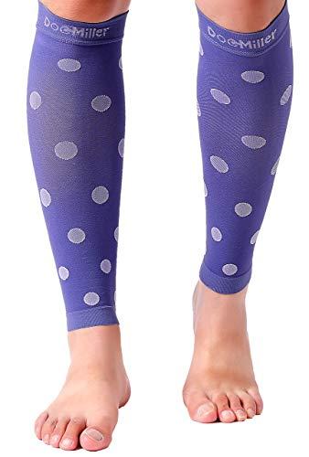 Doc Miller - Manga de compresión para pantorrilla (1 par), 20-30 mmHg, soporte para correr, recuperación, espinillas, piernas inquietas, macetas, DVT, viaje, color violeta, blanco, mediano