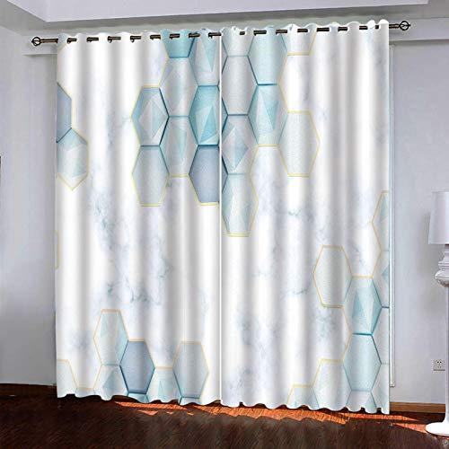 LUOWAN Tela por Metros para Cortinas Impresión de Textura geométrica Hexagonal 2 Piezas de Cortinas Opacas Resistente al Calor y La Luz para Salón Dormitorio para Oficina Moderna Decorativa Reducción