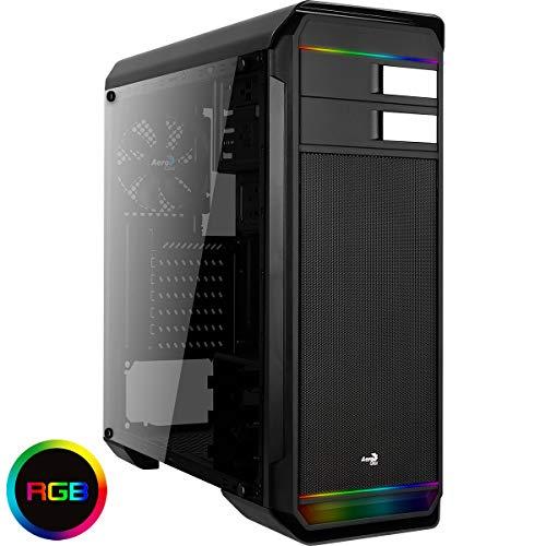 Aerocool AERO500G RGB - Gaming Box für PC (Semitorre, ATX, RGB Beleuchtung, Transparentes Fenster, 12cm Lüfter hinten, USB 2.0 / 3.0), Schwarz