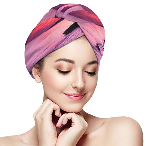 Sunset by The Sea Pink Sky Microfiber Dry Hair Cap for Bath Spa Soft Super Absorbent Quick Drying Towel Wrap Wet Hair Turbans 11 inch X 28 inch