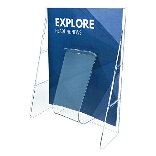 Deflecto Zeitschriftenständer (Wandmontage möglich, für 100 Faltblätter, DIN A4) transparent