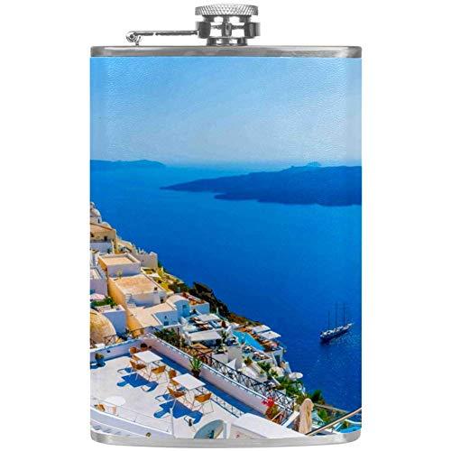 Bennigiry Flachmann für Herren, griechische Inseln, auslaufsicher, Edelstahl
